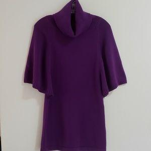 PinkRose Sweater, Angel Sleeve Tunic, Purple, Sz M